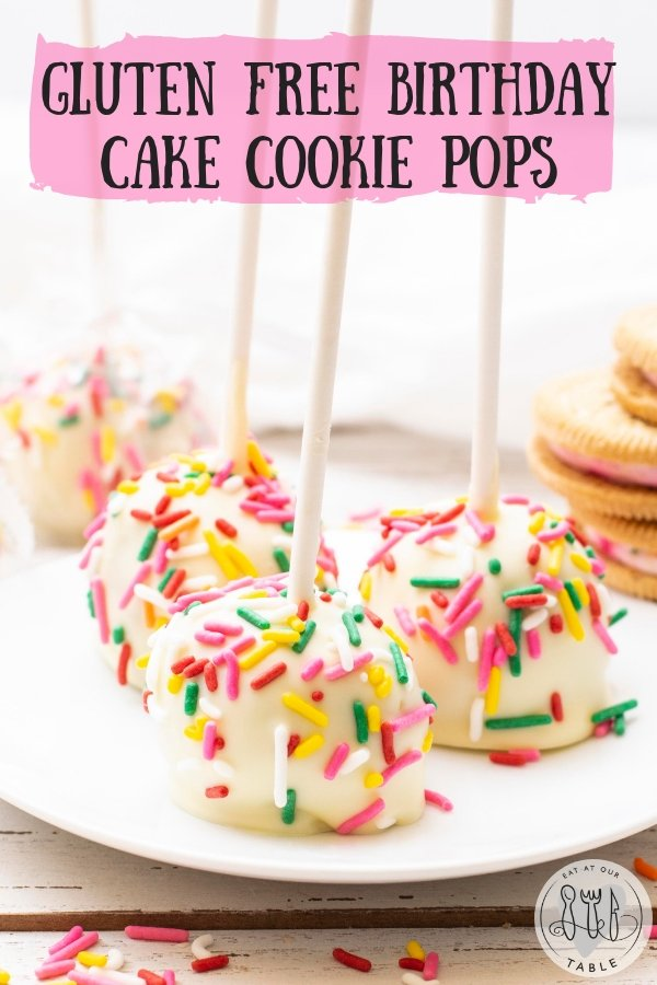 Nothing says birthday like sprinkles and these gluten free cookie pops are the perfect bite sized treat!