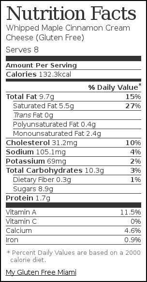 Nutrition label for Whipped Maple Cinnamon Cream Cheese (Gluten Free)