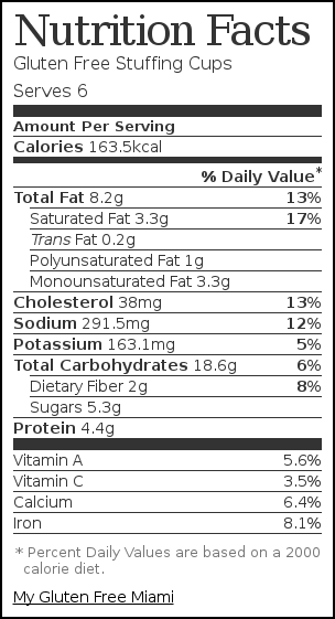 Nutrition label for Gluten Free Stuffing Cups