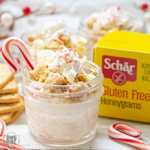 gluten free honey grams with no bake peppermint cheesecake