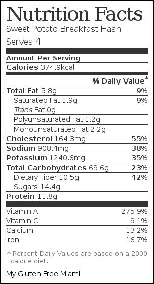 Nutrition label for Sweet Potato Breakfast Hash