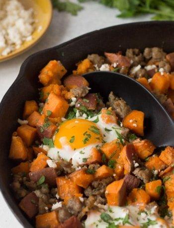 Gluten free sweet potatoe breakfast hash with baked eggs