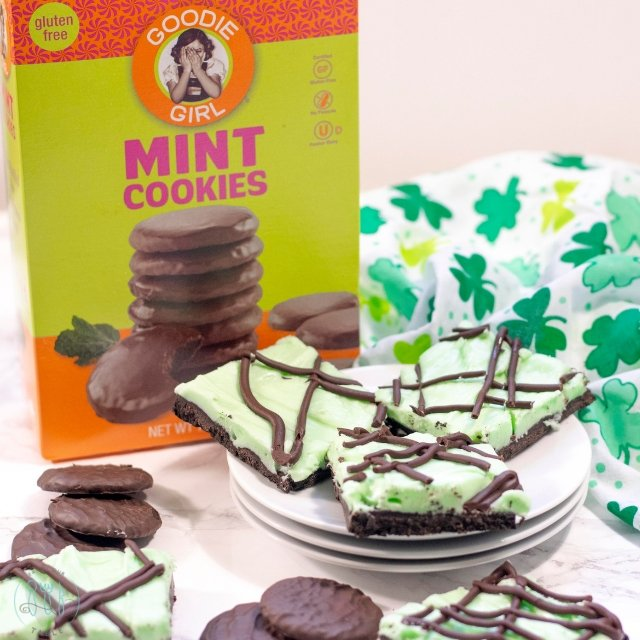 Goodie Girl Mint Cookies with grasshopper cookie bars on a plate