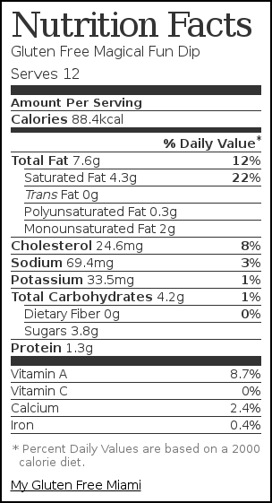 Nutrition label for Gluten Free Magical Fun Dip