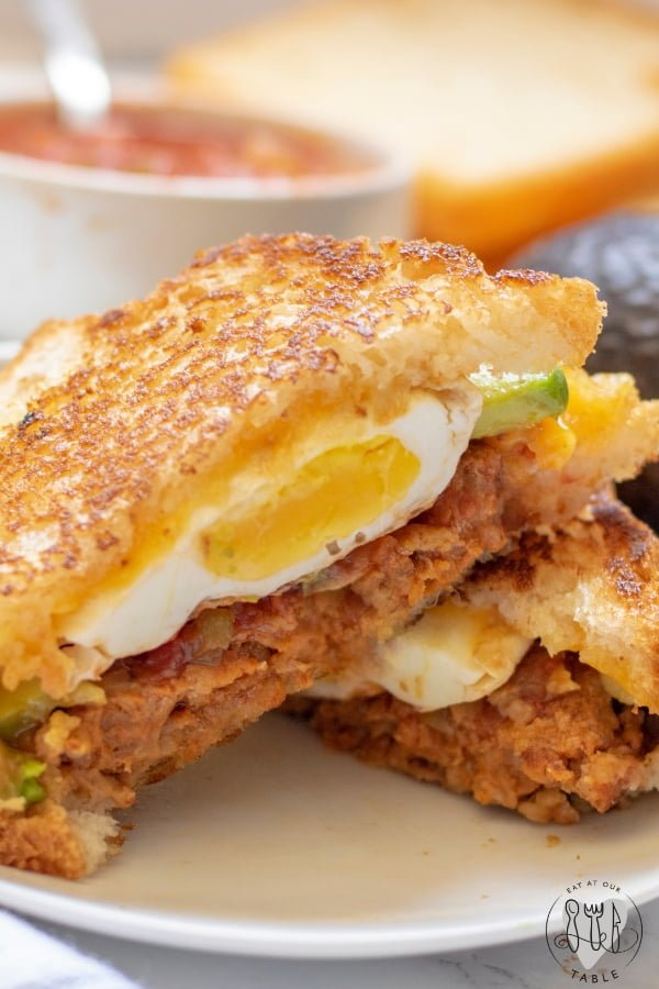 Mexican breakfast sandwich with chorizo and fried egg