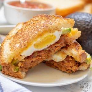 gluten free Mexican Breakfast Sandwich open on a plate