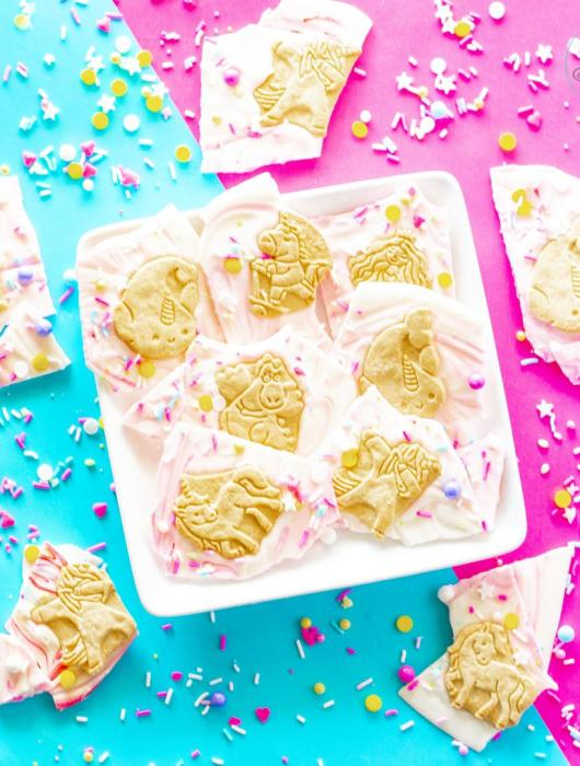 Gluten Free Magical Cookie Unicorn Bark with gluten free animal crackers and sprinkles