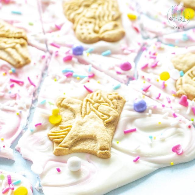 Dabacorn animal cracker on white chocolate Gluten Free Magical Cookie Unicorn Bark