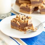 chocolate chip cookie layer bar on a plate