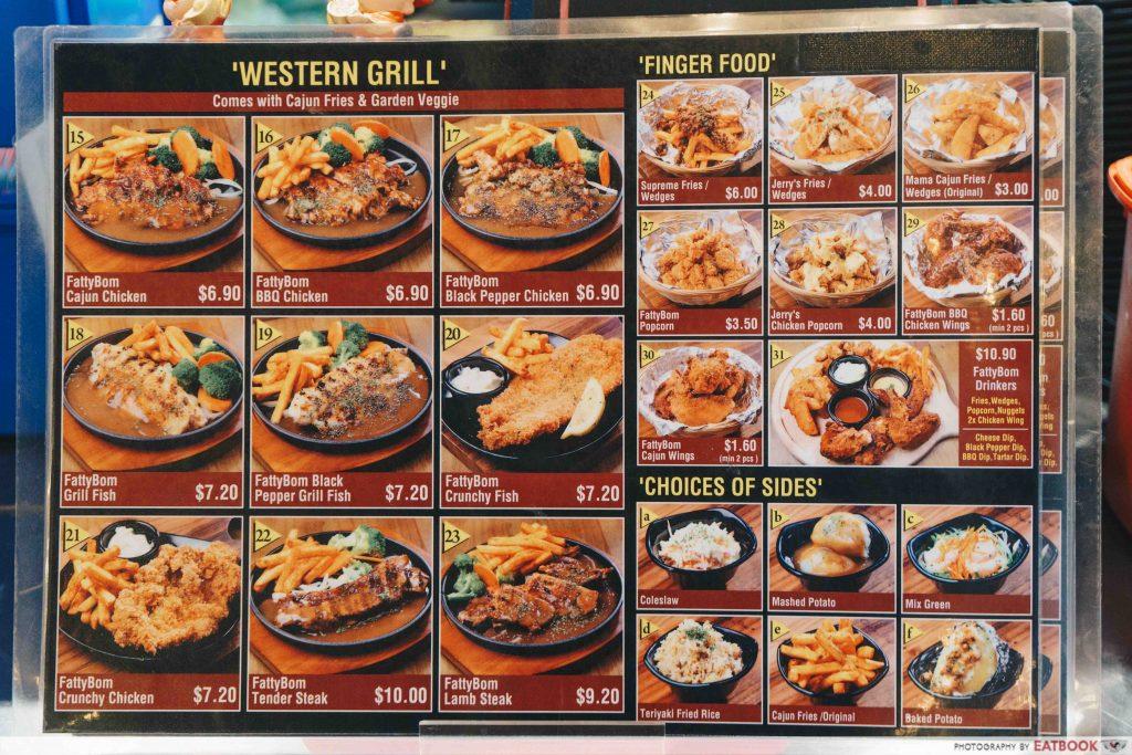 Fatty Bom Bom - menu