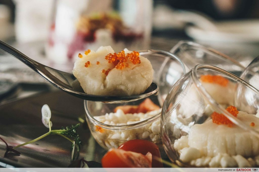 Seafood Paradise - Australian Scallop and Ebiko served with Steamed Egg White