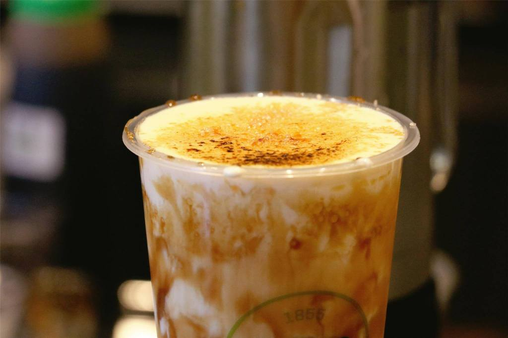 Brown Sugar Boba Milk With Cheese Brûlée Torched