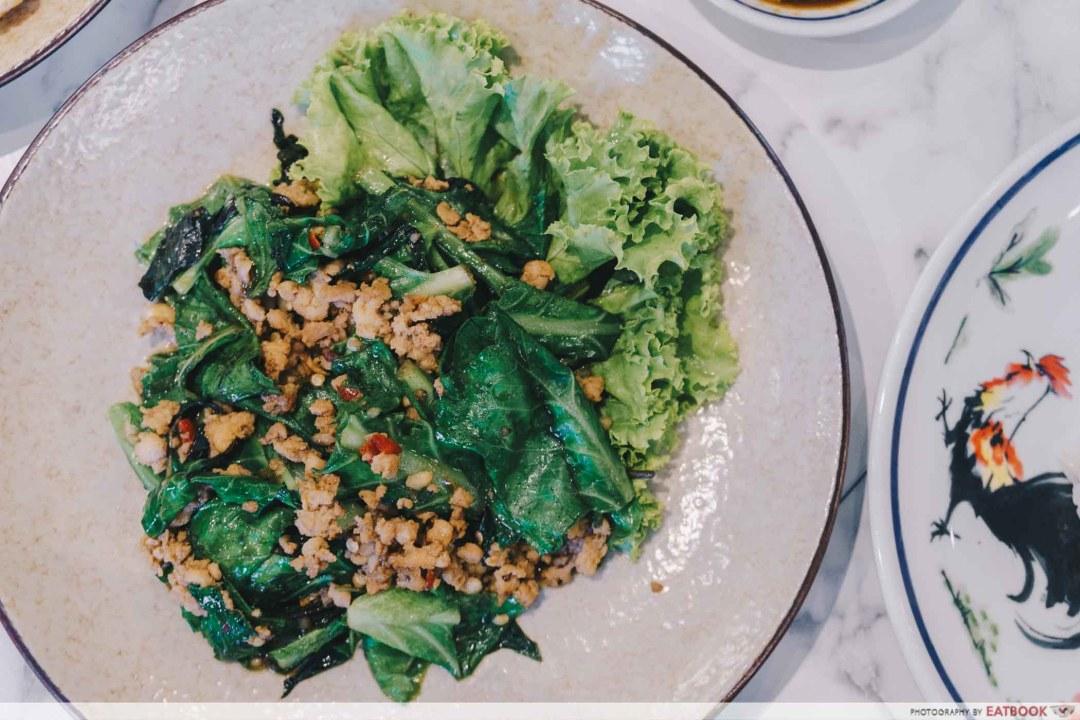 Bangkok Chicken Rice - Stir Fried Basil Chicken with Kai Lan