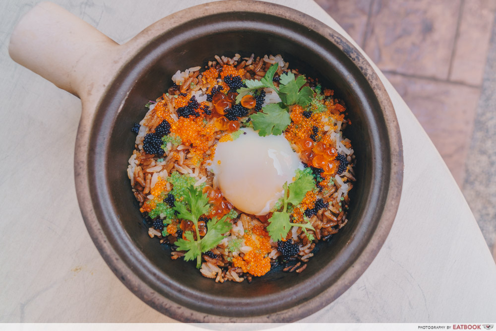 House Of Happiness - Onsen Egg with Ikura and Tobiko