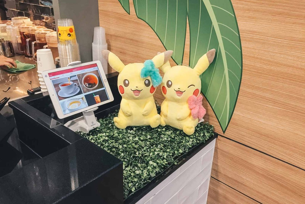 pokemon-themed cafe plushies