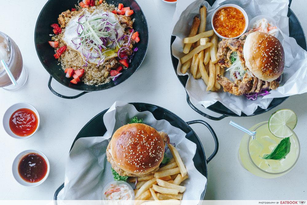 wok in burger flatlay