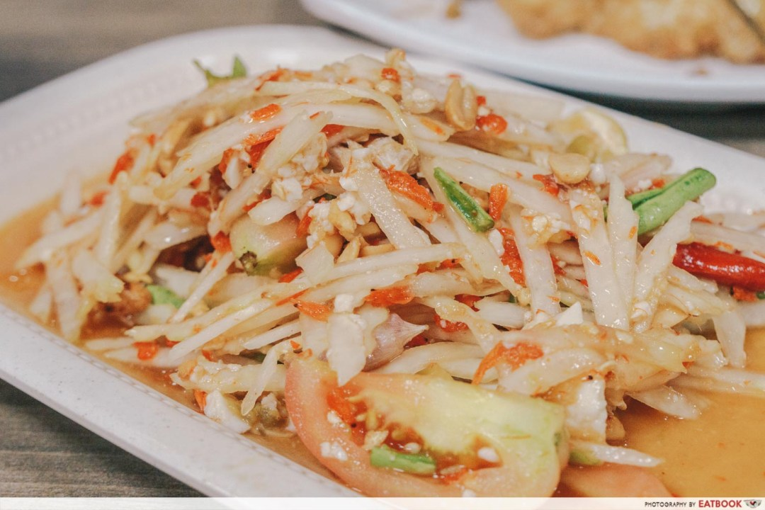 Underrated Thai Dishes som tum kai kem papaya salad with salted egg