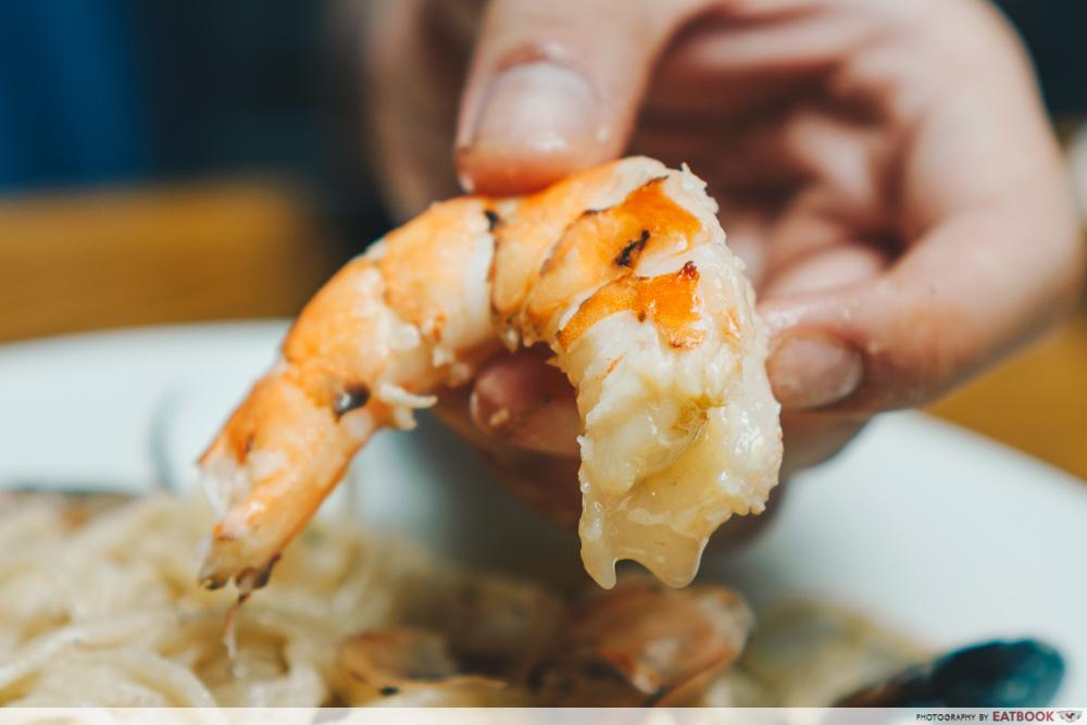 kava seafood cream pasta prawns