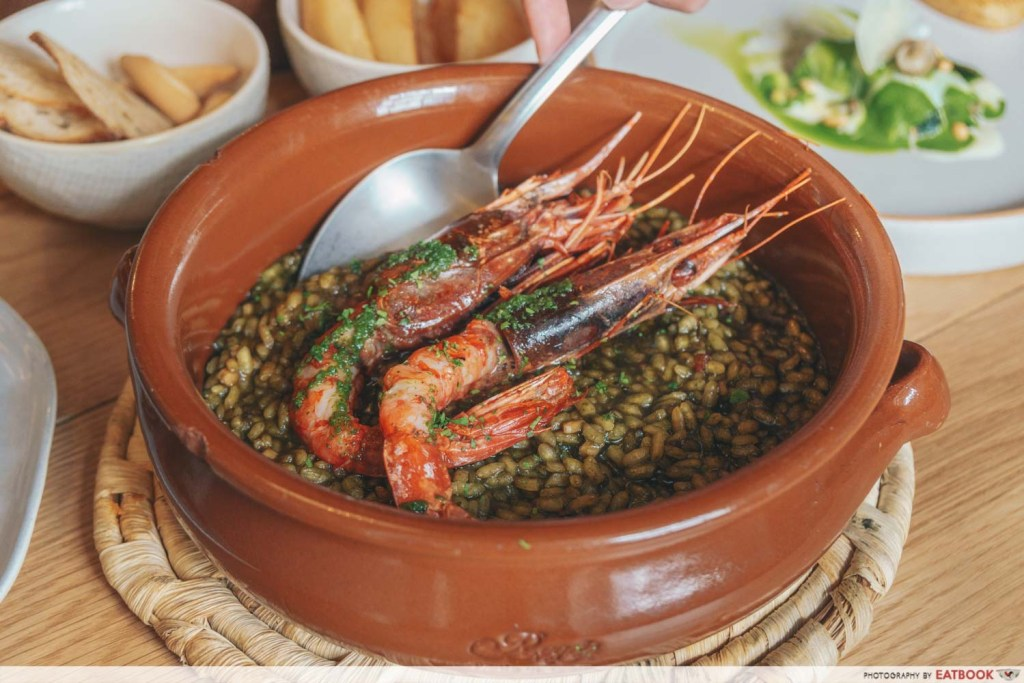Olivia Restaurant And Lounge Black Rice with Grilled Mediterranean Red Prawn