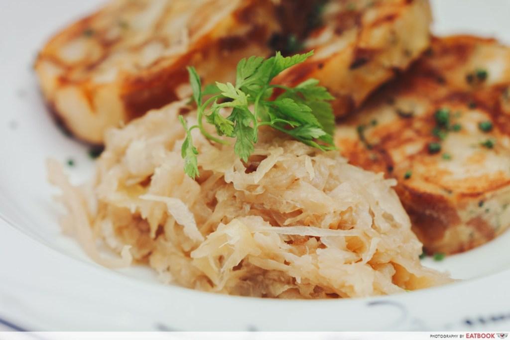 close up of the sauerkraut