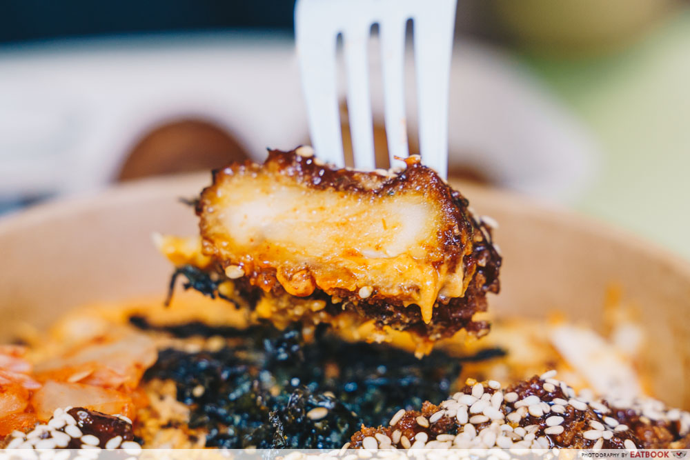 Korean Mac & Cheese chicken cutlet