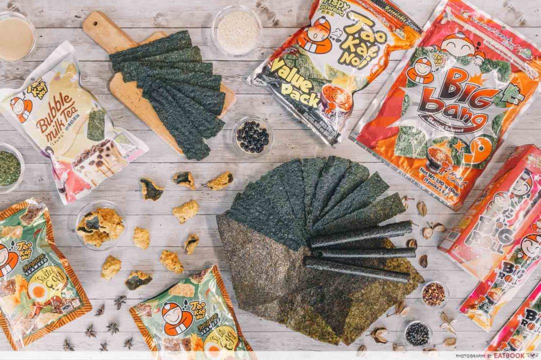 flatlay of seaweed snacks