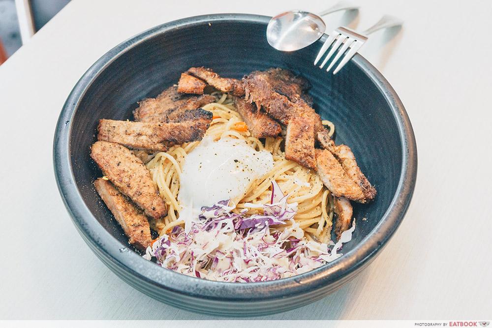 Mad Charcoal-Grilled Pork, Spaghetti Aglio E Olio