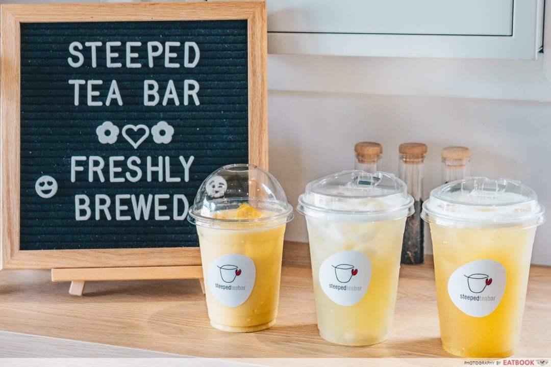 STEEPED Tea Bar - All drinks closeup shot
