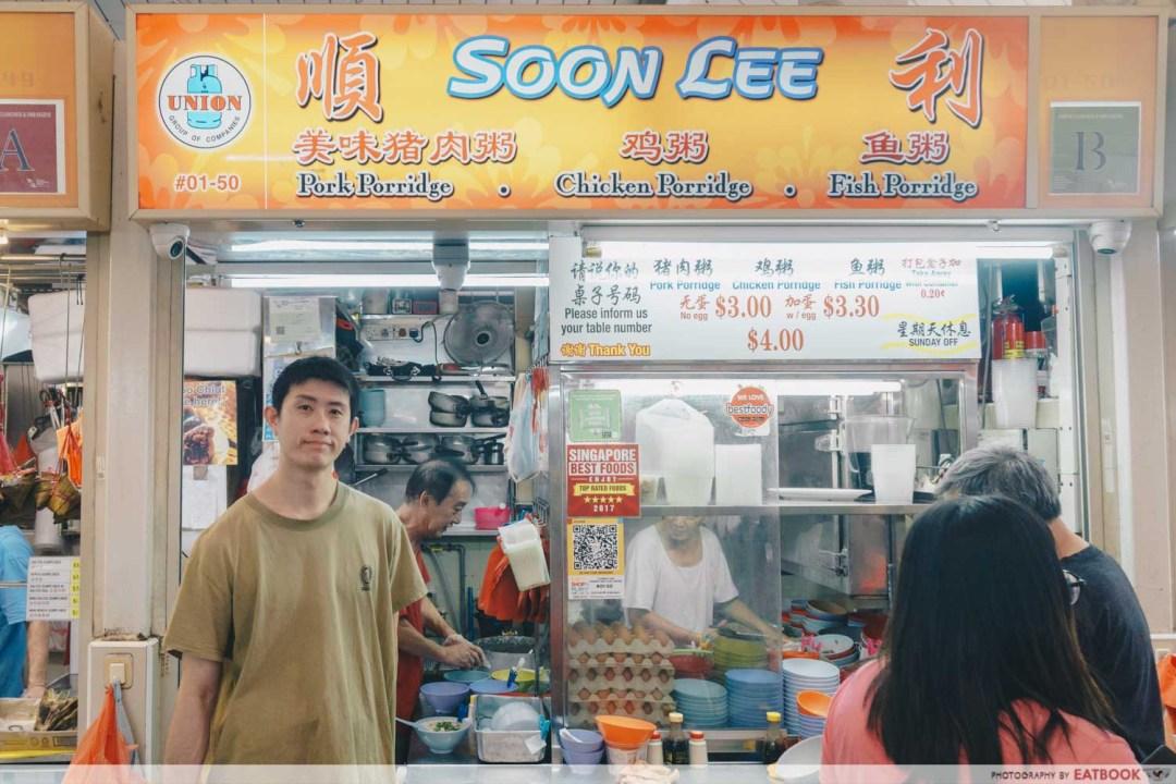 Soon Lee Porridge - Storefront shot with owner
