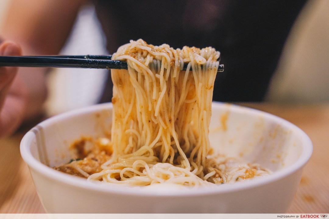 Inle Myanmar Restaurant - Mohinga noodle pull shot