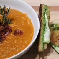 soup sundays: pasta e fagioli with pesto grilled cheese