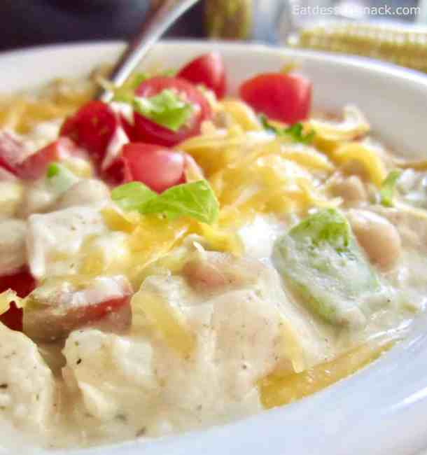 White Chicken Chili is a creamy, savory, easy dinner that uses simple ingredients for an amazing taste! 30- minute version and Crock Pot version.