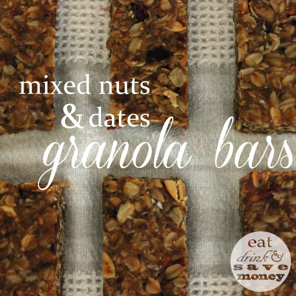 Mixed nuts and dates granola bar recipe