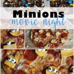 Family movie night with Minions, pizza, and popcorn