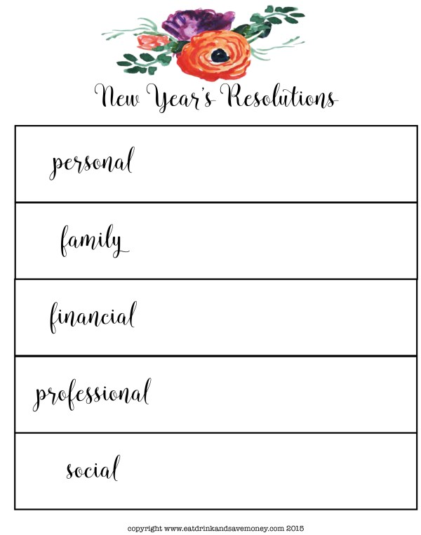 New Year's Resolutions free printable. Click here to get a PDF version of this New Year's Resolutions printable worksheet.