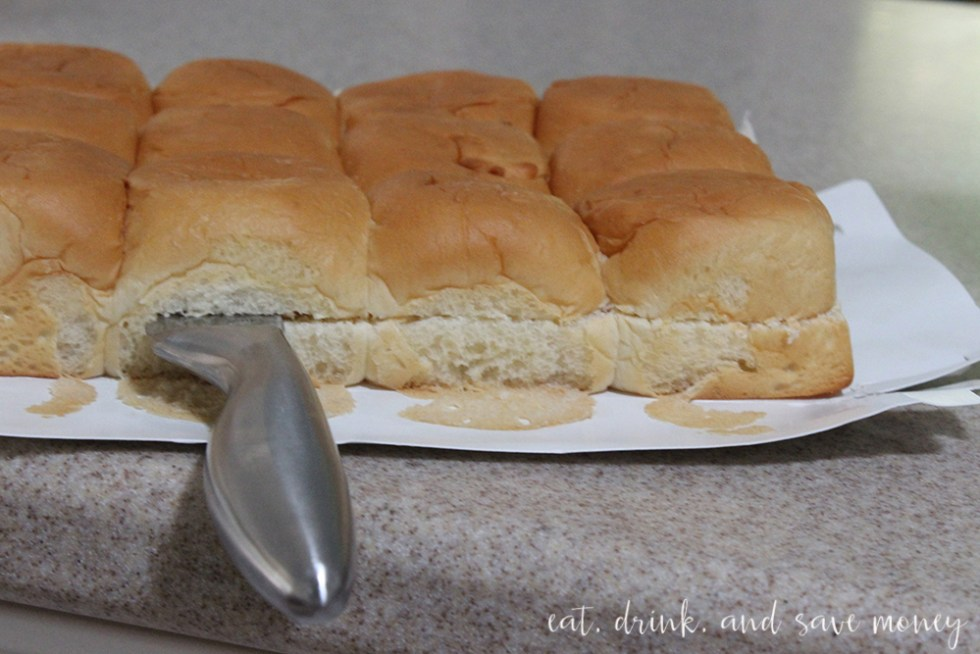 Cut rolls in half to make sliders for St.Patricks day