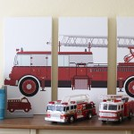 DIY Firetruck Triptych Artwork