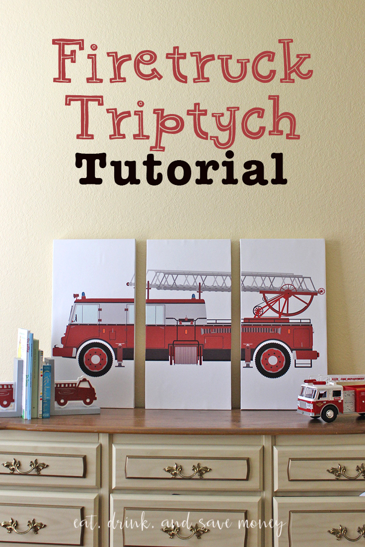 Firetruck Triptych Tutorial. Make your own triptych artwork on a budget with this super easy and cheap tutorial