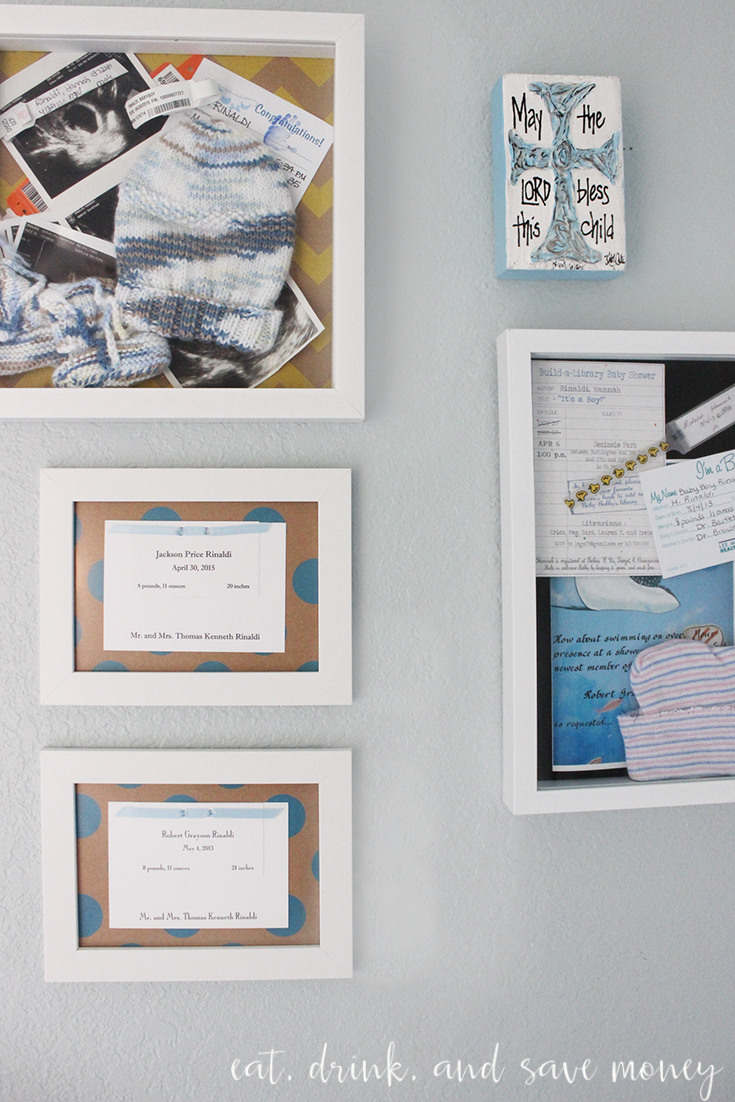Display keepsakes from baby's birth and birth announcements