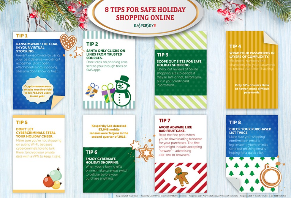 Internet Security with Kaspersky Lab Set of Christmas brochures in vintage style