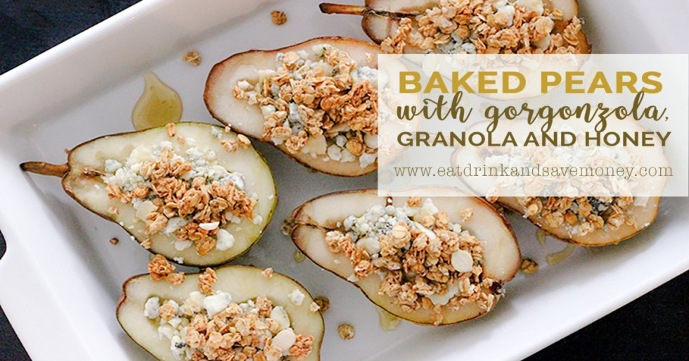 Baked pears with gorgonzola, granola and honey is so delicious