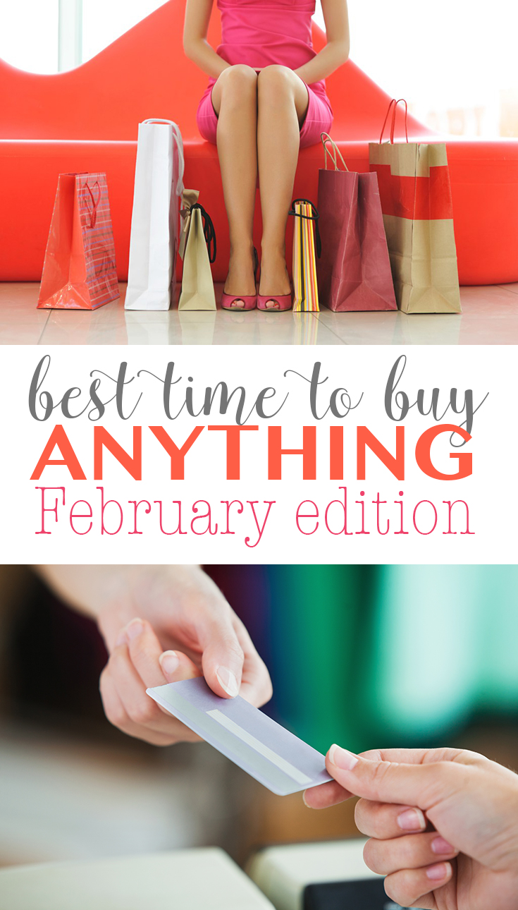 Best time to buy anything February edition. Ever wonder what you should be buying in February to get the best deals. Follow these tips for getting great deals on everything from furniture to produce.