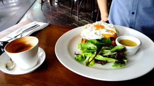 The croque madame: eggs, caramelised onion and honey mustard sauce