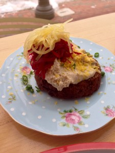 Smoked mackerel mousse w beets,egg,on a hash brown.