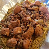 Israeli Couscous with Chicken, Onions, & Garbanzo Beans (Maftool)