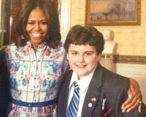 Kinnan Dowie with First Lady Michelle Obama