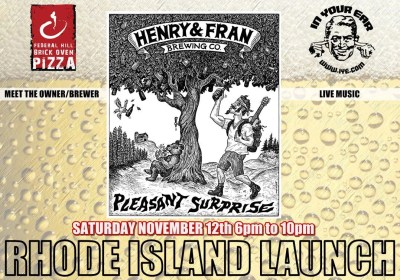 """Federal Hill Pizza Welcomes Henry and Fran Brewing Company to Introduce Their First Craft Beer, """"Pleasant Surprise"""""""