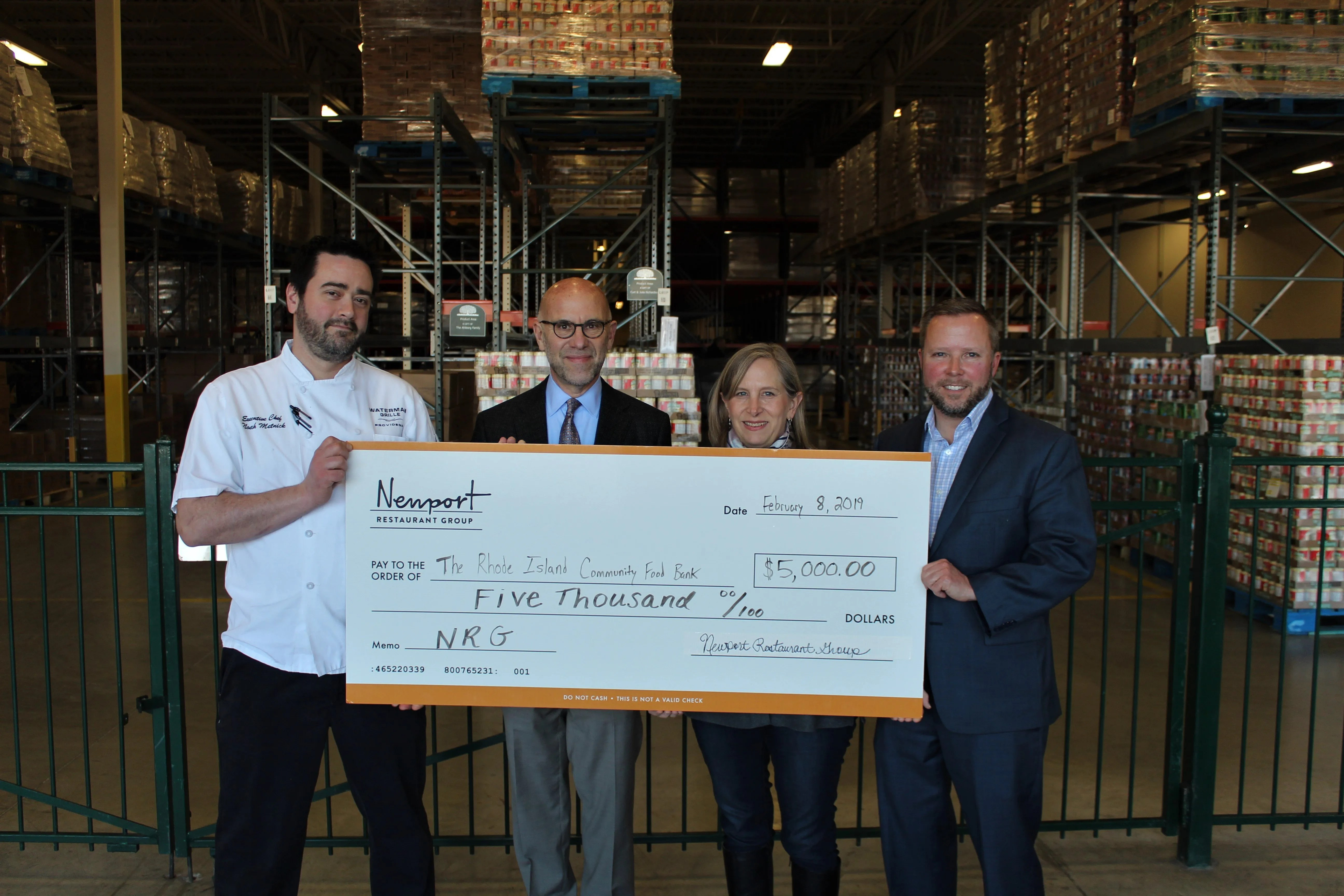 (left to right): Noah Metnick, Executive Chef, Waterman Grille; Andrew Schiff, Chief Executive Officer, Rhode Island Community Food Bank; Lisa Roth Blackman, Chief Philanthropy Officer, Rhode Island Community Food Bank; and Tobey Chase Sanborn, Senior General Manager, Hemenway's