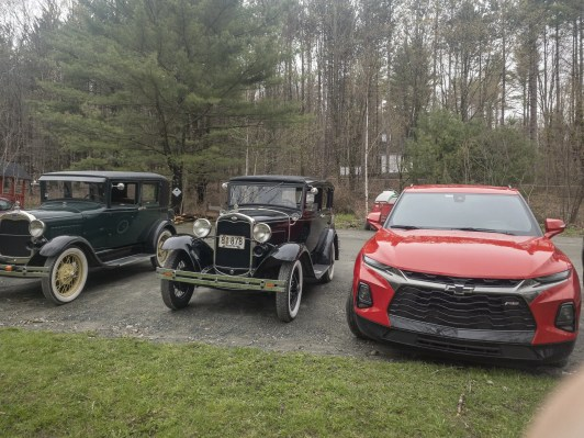 2019 Chevrolet Blazer RS alongside 1920's Model A's