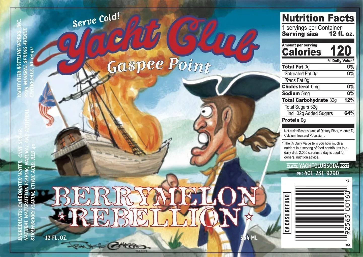 Yacht Club Bottling Works Berrymelon Rebellion label